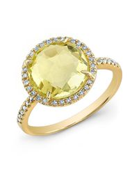 Anne Sisteron | Metallic 14kt Yellow Gold Lemon Topaz Diamond Round Cocktail Ring | Lyst
