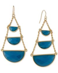 Carolee | Metallic Gold-tone Blue Stone Half-circle Chandelier Earrings | Lyst
