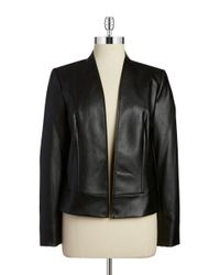 Tahari | Black Faux Leather Jacket | Lyst