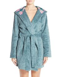 Jane & Bleecker New York | Green Plush Flannel Robe | Lyst