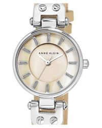 Anne Klein | Natural Mother-of-pearl Dial Leather Strap Watch | Lyst