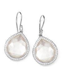 Ippolita | Metallic Stella Teardrop Earrings In Mother-of-pearl Doublet With Diamonds | Lyst