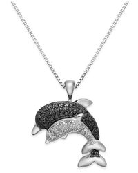 Macy's | Black And White Diamond Accent Dolphin Pendant Necklace In Sterling Silver (1/8 Ct. T.w.) | Lyst