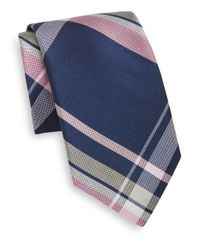 Saks Fifth Avenue | Blue Plaid Silk Tie for Men | Lyst