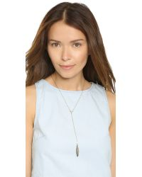 Rebecca Minkoff - Metallic Safari Haze Leaf Y Necklace - Gold/crystal - Lyst