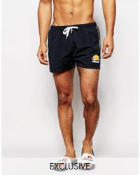 dbe619e104 Ellesse Swim Shorts With Taping Exclusive To Asos - Black in Black ...