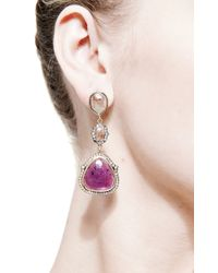 Sylva & Cie | Pink One Of A Kind Triple Stone Drop Earrings | Lyst