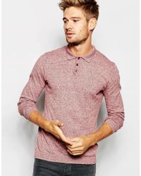 ASOS - Pink Knitted Polo Neck Jumper In Cotton for Men - Lyst