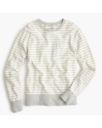J.Crew - Gray Reverse Terry Sweatshirt In Stripe for Men - Lyst