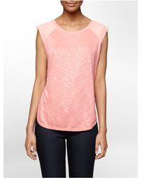 Calvin Klein | Pink Jeans Solid Slub Cap Sleeve Top | Lyst