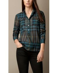 Burberry - Blue Check Cotton Smock Shirt - Lyst