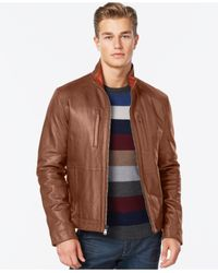 Michael Kors | Brown Michael Leather Jacket for Men | Lyst