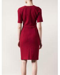 Carolina Herrera Red Split Neck Dress