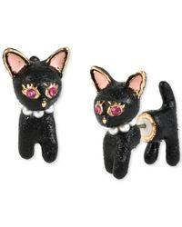 Betsey Johnson | Black Gold-tone Cat Front And Back Stud Earrings | Lyst