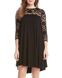 Karen Kane - Black Lace & Jersey Swing Dress - Lyst