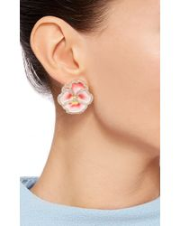 Alison Lou | Pansy Pink Enamel And Diamond Earrings | Lyst