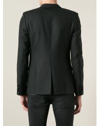 Saint Laurent Black Babycat Jacquard Blazer for men