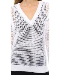 Rag & Bone Connie V Neck Sweater White