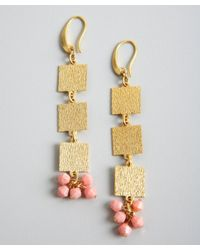 David Aubrey | Metallic Gold and Pink Coral Square Drop Earrings | Lyst