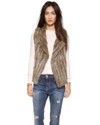 Joie Brown Andoni Fur Vest - Warm Natural