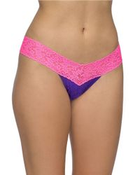 Hanky Panky | Pink Low Rise Two-tone Lace Thong | Lyst