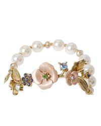 Betsey Johnson | Metallic Rose Gold-Tone Flower Stretch Bracelet | Lyst