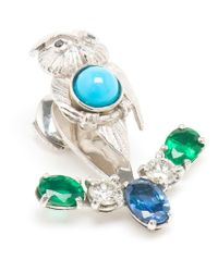 Yvonne Léon Blue Sapphire, Diamond And Emerald Lobe Earring