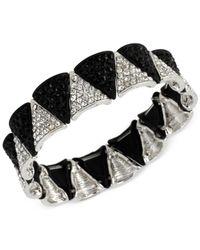 Steve Madden - Black Two-Tone Crystal Triangle Stretch Bracelet - Lyst