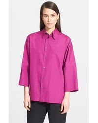 Eskandar | Purple Sloped Shoulder Cotton Poplin Shirt | Lyst