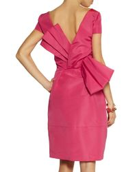 Oscar de la Renta - Pink Bow-Embellished Silk-Faille Dress - Lyst