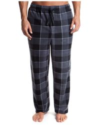 Perry Ellis - Black Men's Plaid Fleece Pajama Pants for Men - Lyst