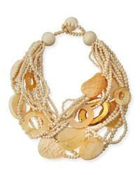 Viktoria Hayman - Metallic Multi-strand Wood & Mother-of-pearl Necklace - Lyst