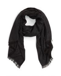 Tory Burch Black 'all-over T' Silk & Cotton Jacquard Scarf