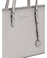 Michael Kors Gray 'jet Set Travel' Saffiano Leather Top Zip Tote