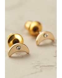 Anthropologie | Metallic Tiny Luna Studs | Lyst