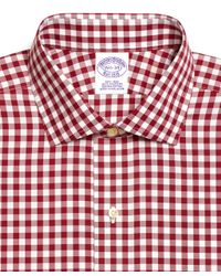 Brooks Brothers - Red Noniron Regular Fit Gingham Dress Shirt for Men - Lyst