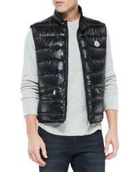 Moncler | Black Gui Quilted Puffer Vest for Men | Lyst