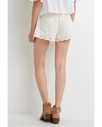 Forever 21 Natural Floral Lace Shorts