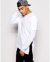 6d96e62c Men's Black Super Longline Long Sleeve T-shirt With Contrast Side Panel And  ...
