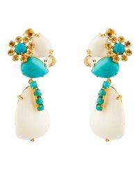 Bounkit | Blue Turquoise, Clear Quartz, And White Agate Petal Drops | Lyst