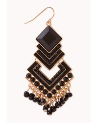 Forever 21 - Black Chic Art Deco Drop Earring - Lyst