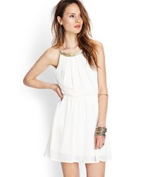 Forever 21 Natural Beaded Open-Back Chiffon Dress