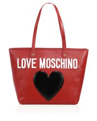 Love Moschino Heart Logo Textured Faux Leather Tote