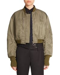 3.1 Phillip Lim - Green Cropped Bomber Jacket - Lyst