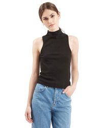 TOPSHOP Black Ribbed Mock Collar Tank