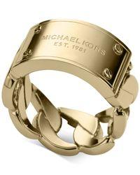 Michael Kors Metallic Curb Chain Logo Plaque Ring