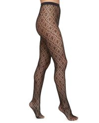 Wolford | Black Daphne Medallion-Patterned Sheer Tights | Lyst