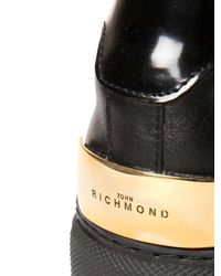 John Richmond - Black Studded Leather Sneakers - Lyst