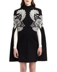 Stella McCartney Black Embroidered Wool Cape