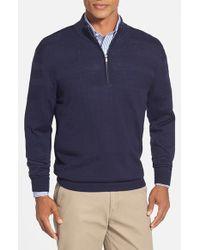 Cutter & Buck | Blue 'douglas' Merino Wool Blend Half Zip Sweater for Men | Lyst